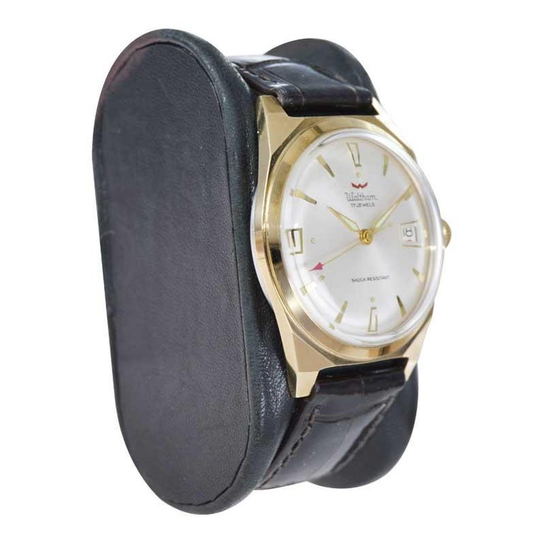 Waltham Yellow Gold Filled Art Deco Style Manual Wind Watch For Sale 1