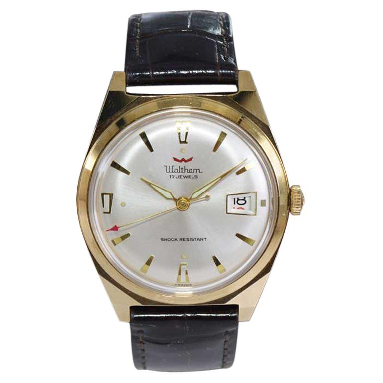 Waltham Yellow Gold Filled Art Deco Style Manual Wind Watch For Sale