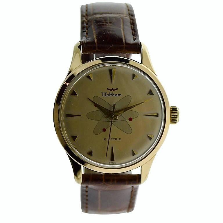 Waltham Yellow Gold Filled Mid Century Experimental Electromechanical Watch  In Excellent Condition For Sale In Long Beach, CA