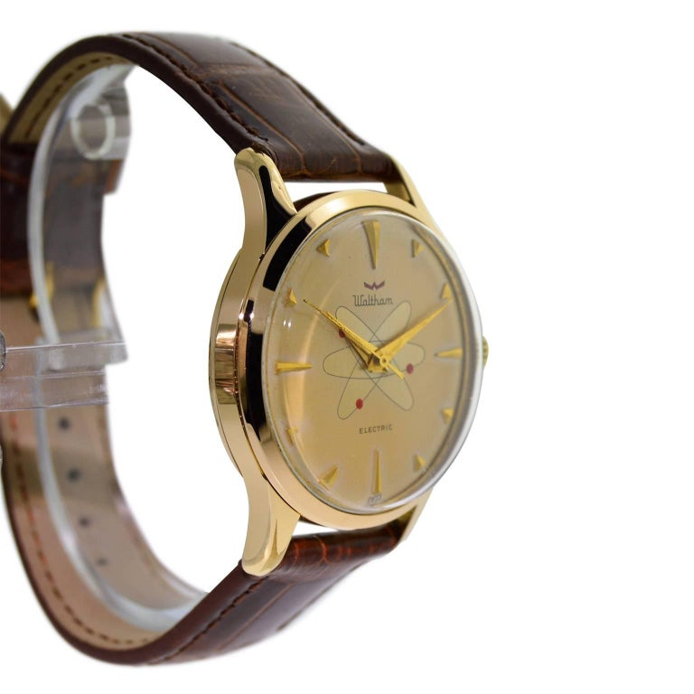 Women's or Men's Waltham Yellow Gold Filled Mid Century Experimental Electromechanical Watch  For Sale