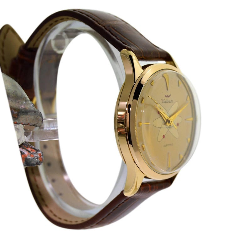 Waltham Yellow Gold Filled Mid Century Experimental Electromechanical Watch  For Sale 1
