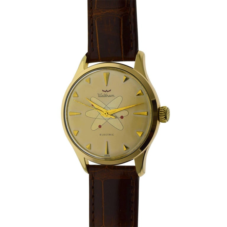 Waltham Yellow Gold Filled Mid Century Experimental Electromechanical Watch  For Sale 2