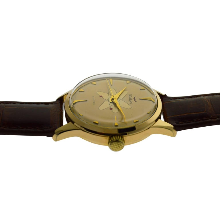Waltham Yellow Gold Filled Mid Century Experimental Electromechanical Watch  For Sale 3