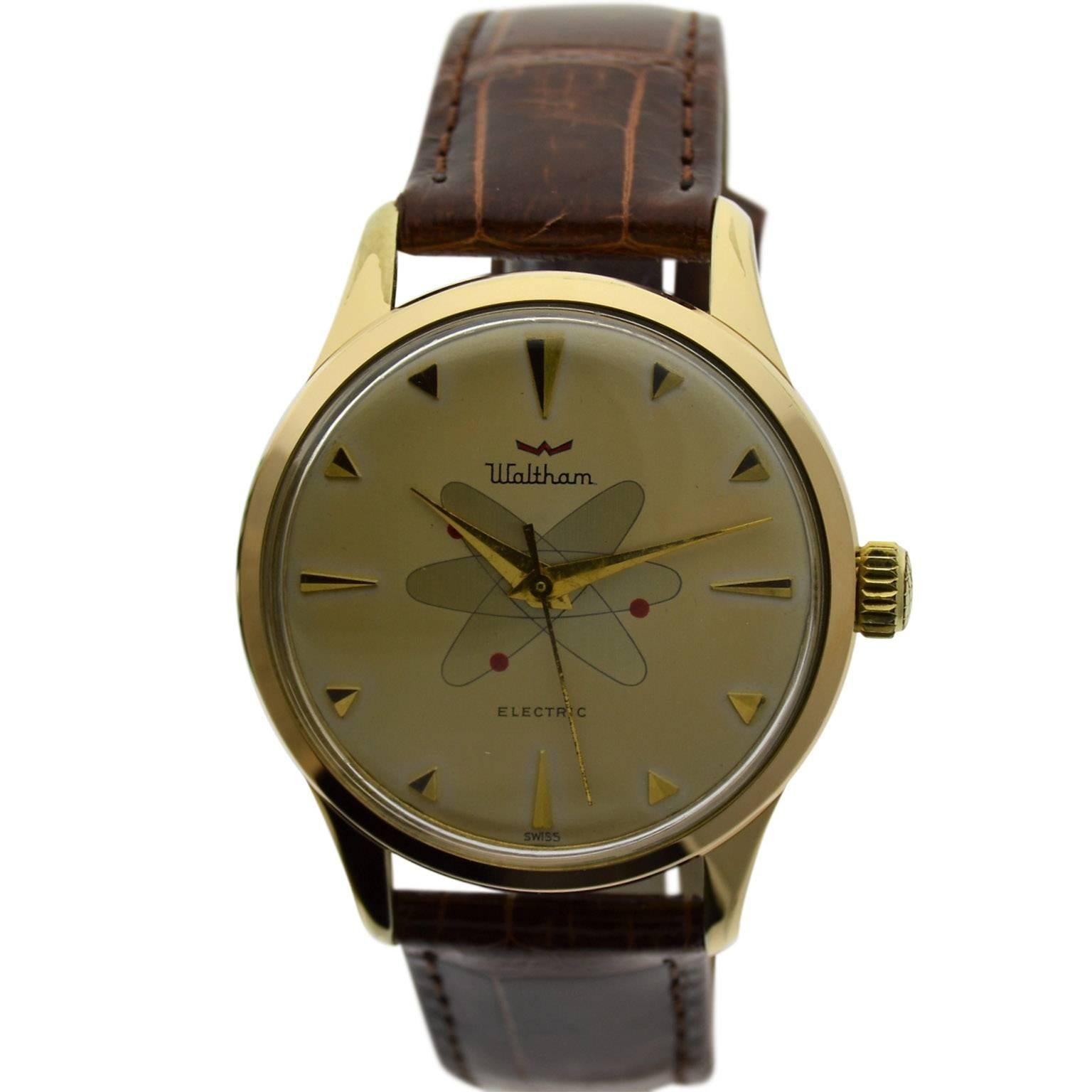 Waltham Yellow Gold Filled Mid Century Experimental Electromechanical Watch
