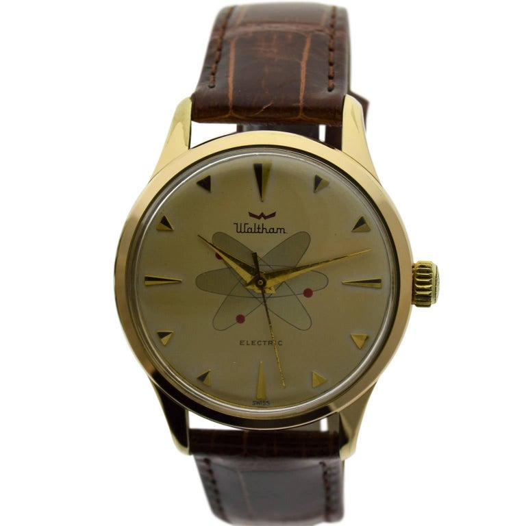 Waltham Yellow Gold Filled Mid Century Experimental Electromechanical Watch  For Sale
