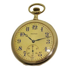 Waltham Yellow Gold Filled Open Case Pocket Watch Dated 1907