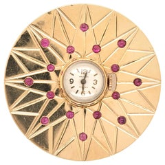 Waltman Yellow Gold and Ruby Watch Brooch