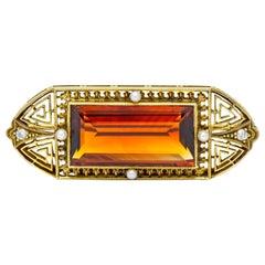 Walton & Co. Art Deco 10.46 Carat Citrine Pearl Diamond 14 Karat Gold Brooch