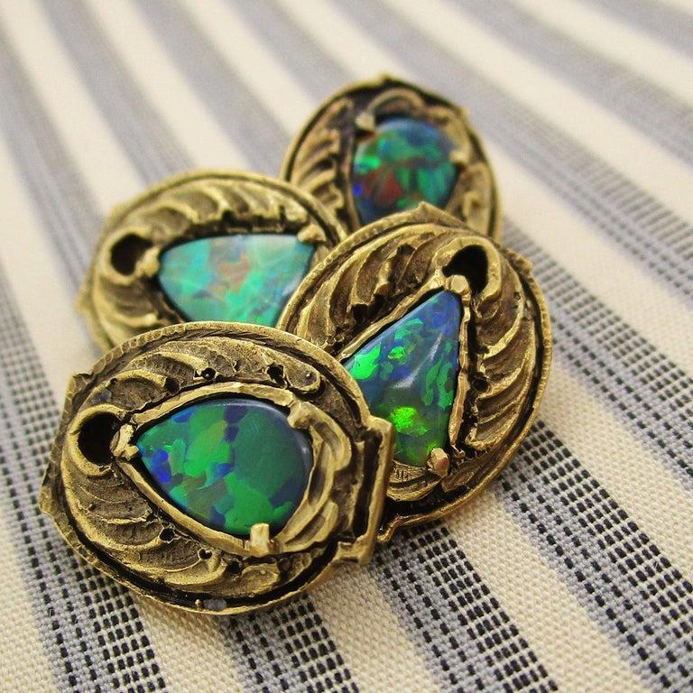Walton & Co Arts & Craft 14 Karat Yellow Gold Black Opal Cufflinks For Sale 5