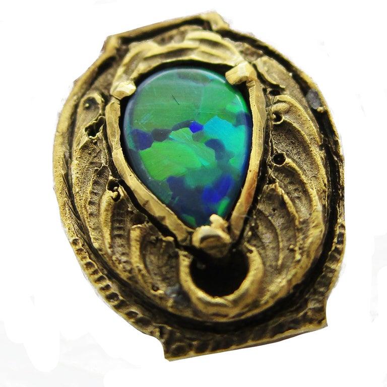 Walton & Co Arts & Craft 14 Karat Yellow Gold Black Opal Cufflinks For Sale 6