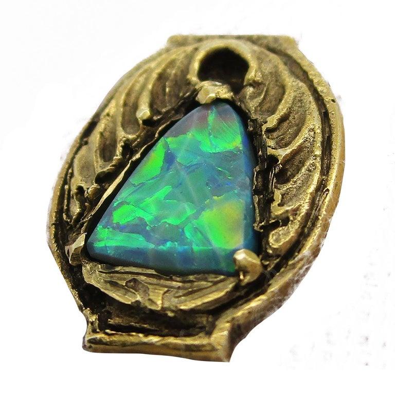 Walton & Co Arts & Craft 14 Karat Yellow Gold Black Opal Cufflinks For Sale 7