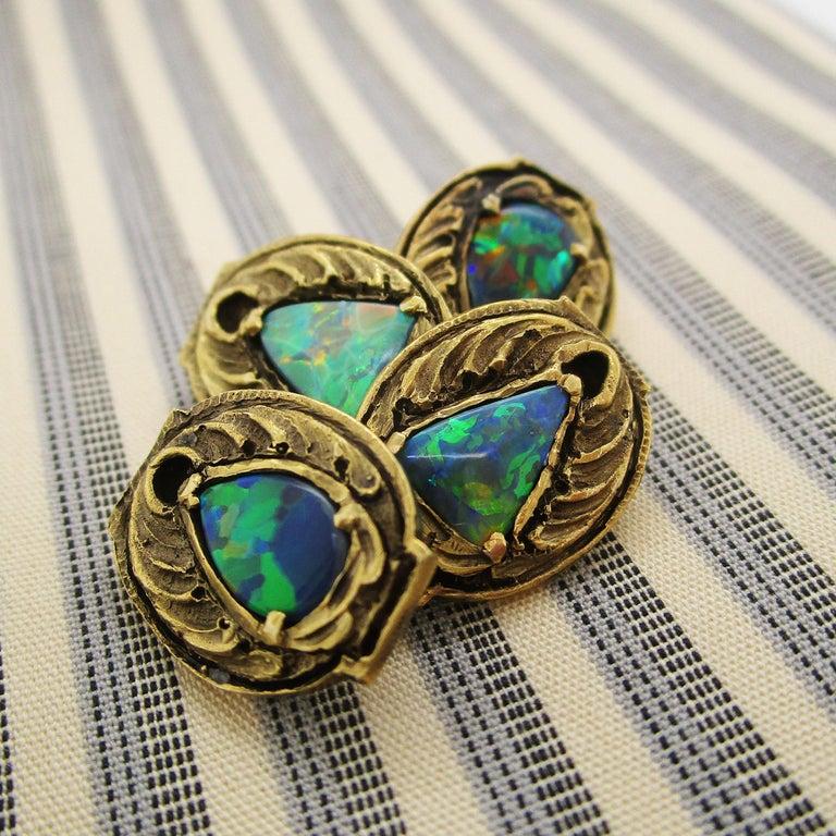 Walton & Co Arts & Craft 14 Karat Yellow Gold Black Opal Cufflinks For Sale 8