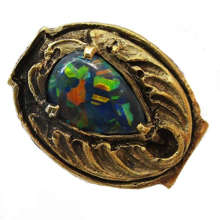 Walton & Co Arts & Craft 14 Karat Yellow Gold Black Opal Cufflinks For Sale 9