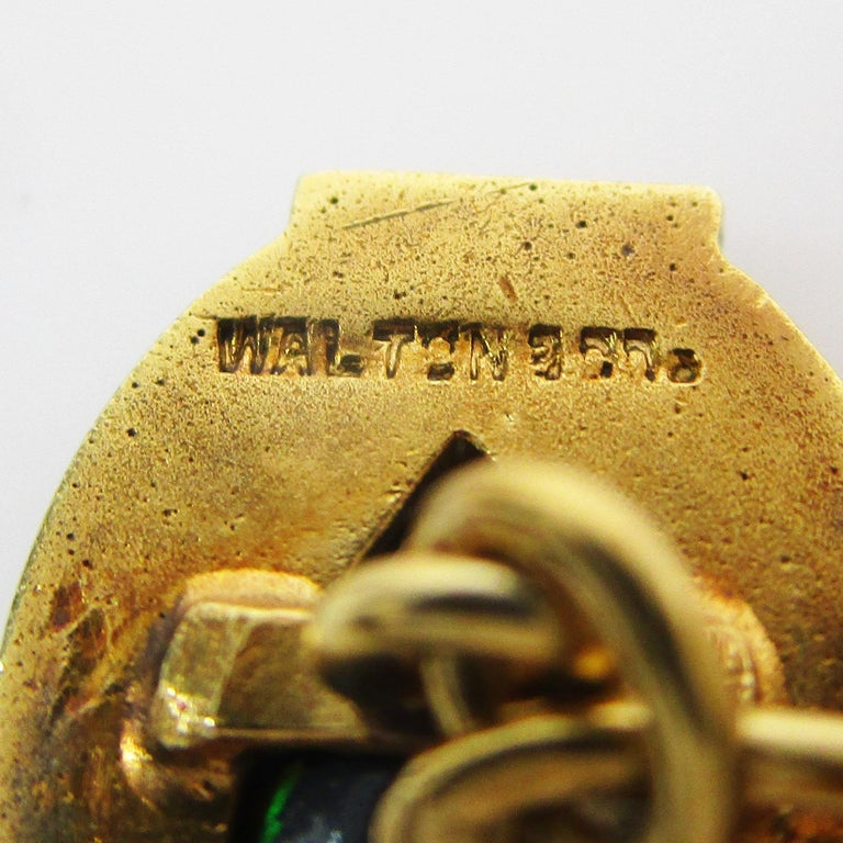Walton & Co Arts & Craft 14 Karat Yellow Gold Black Opal Cufflinks For Sale 10