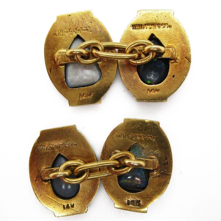 Walton & Co Arts & Craft 14 Karat Yellow Gold Black Opal Cufflinks For Sale 12