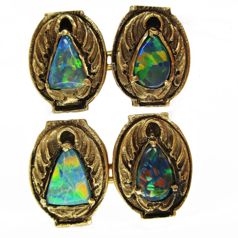 Oval Cut Walton & Co Arts & Craft 14 Karat Yellow Gold Black Opal Cufflinks For Sale