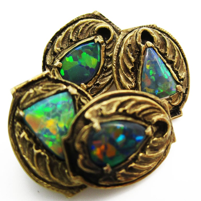 Walton & Co Arts & Craft 14 Karat Yellow Gold Black Opal Cufflinks In Excellent Condition For Sale In Lexington, KY