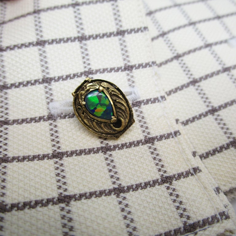 Men's Walton & Co Arts & Craft 14 Karat Yellow Gold Black Opal Cufflinks For Sale