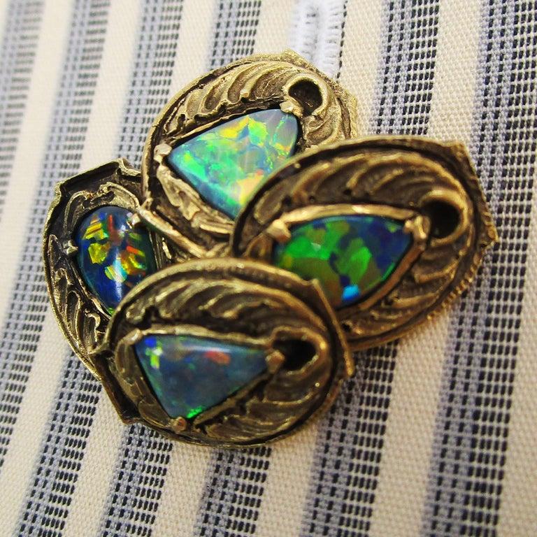 Walton & Co Arts & Craft 14 Karat Yellow Gold Black Opal Cufflinks For Sale 1