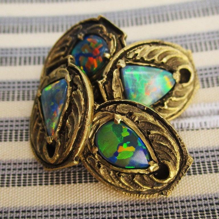 Walton & Co Arts & Craft 14 Karat Yellow Gold Black Opal Cufflinks For Sale 2