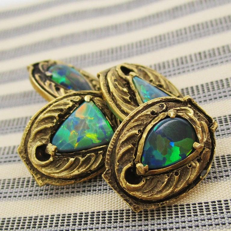 Walton & Co Arts & Craft 14 Karat Yellow Gold Black Opal Cufflinks For Sale 3