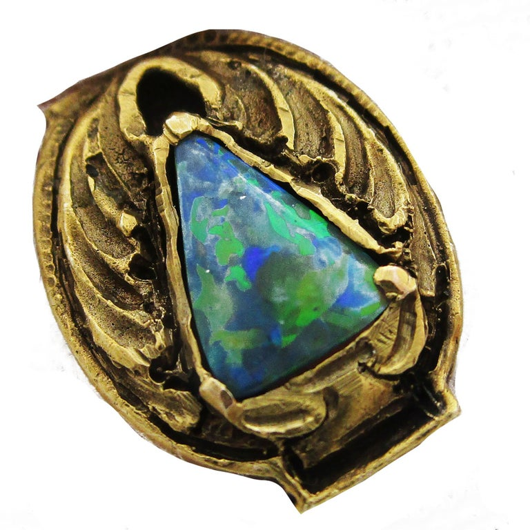 Walton & Co Arts & Craft 14 Karat Yellow Gold Black Opal Cufflinks For Sale 4