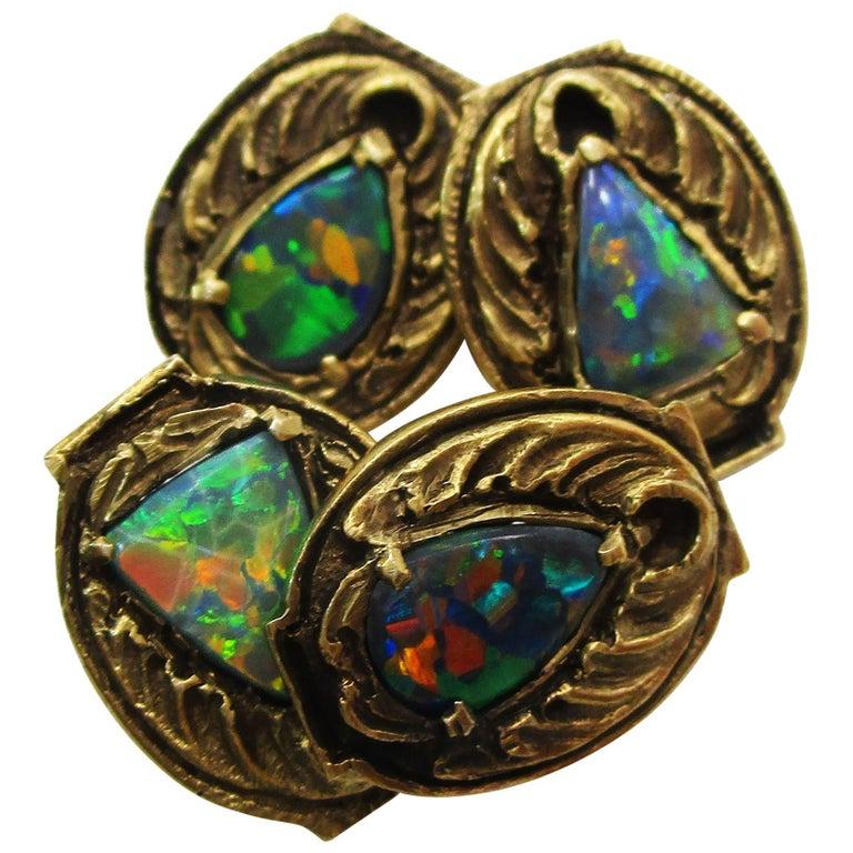 Walton & Co Arts & Craft 14 Karat Yellow Gold Black Opal Cufflinks For Sale