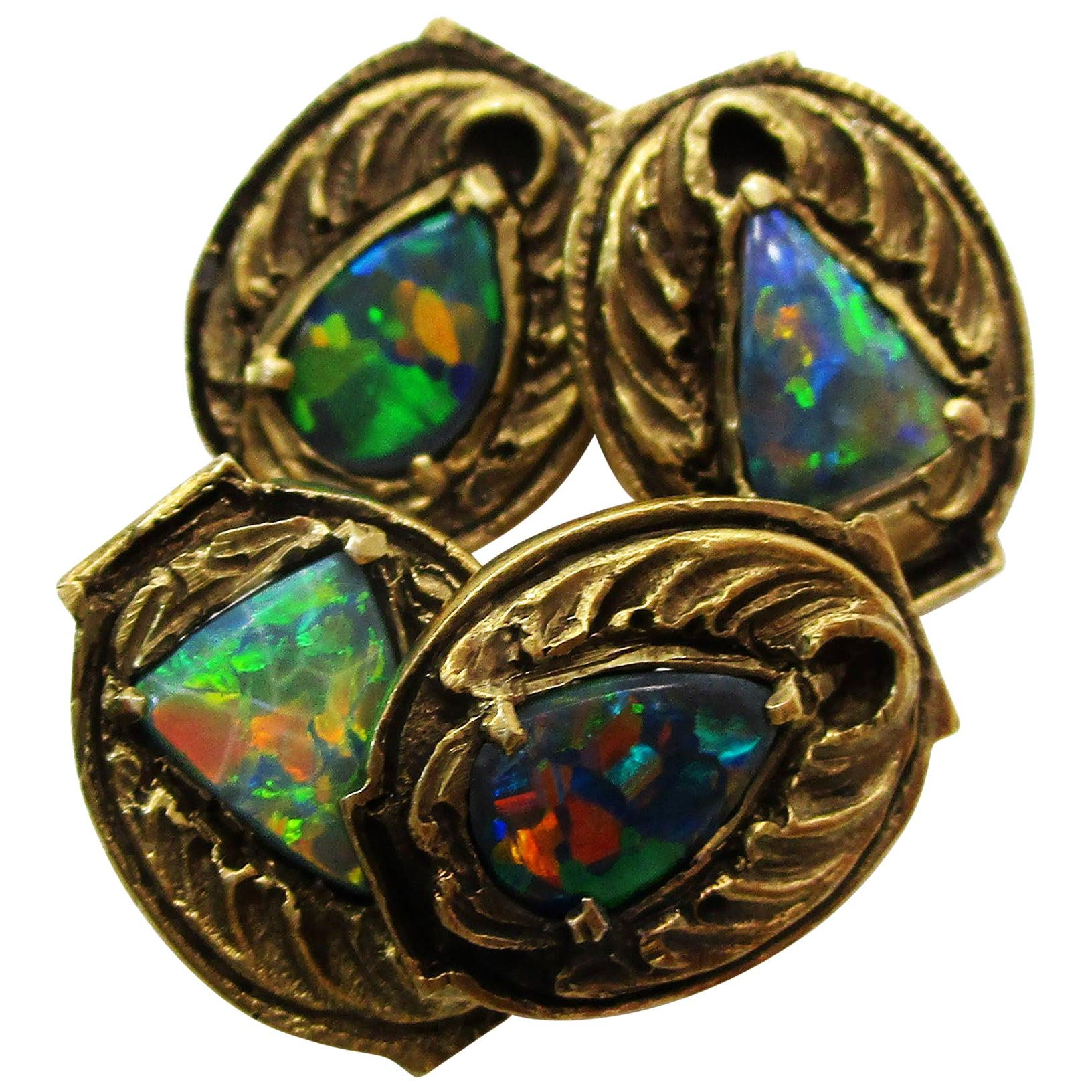 Walton & Co Arts & Craft 14 Karat Yellow Gold Black Opal Cufflinks
