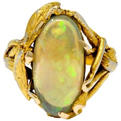 Walton & Co. Arts & Crafts Opal 14 Karat Gold Dragonfly Ring