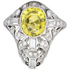 Walton & Co. Belle Epoque 3.70 Carat Chrysoberyl Diamond Platinum Dinner Ring