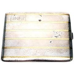 Waltrous Sterling Silver 14 Karat Inlaid Cigarette Case #468