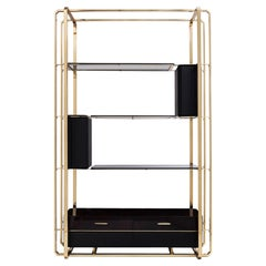 Waltz Bookcase in Brass and Wood with Smoked Glass and Black Leather
