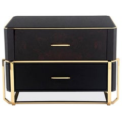 Waltz Nightstand in Brass, Wood, Glass and Black Leather
