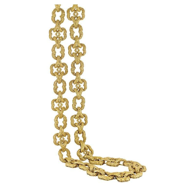 Wander 18K Yellow Gold Link Necklace In Excellent Condition For Sale In Houston, TX