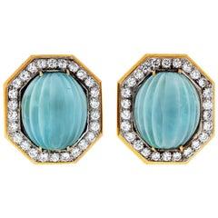 Wander France 18 Karat Yellow Gold Fluted Aquamarine Diamond Pave Clip Earrings