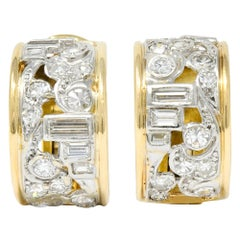 Wander France 2.00 Carat Diamond Platinum 18 Karat Gold J Hoop Earrings