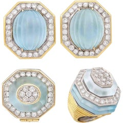 Wander, France, Gold Platinum, Frosted Carved Aquamarine and Diamond Clip-On