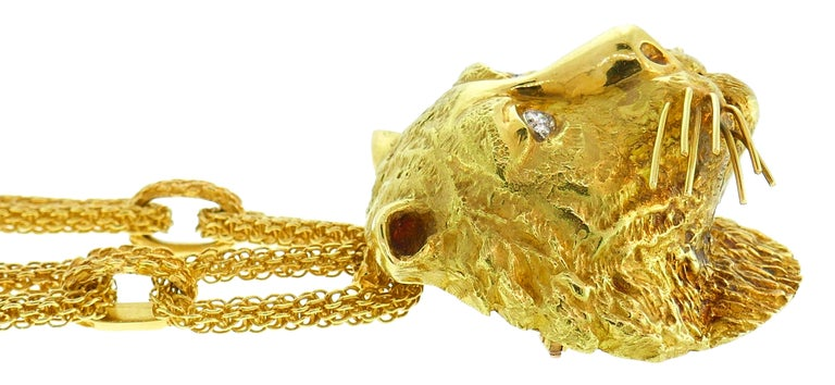 Wander Yellow Gold Leo Pendant Necklace Pin Brooch Zodiac Lion Link Chain, 1970s For Sale 1