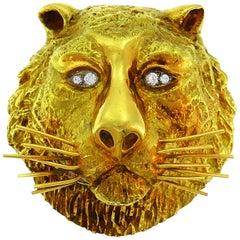 Wander Yellow Gold Leo Pendant Pin Brooch Zodiac Lion, 1970s
