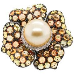 Wander Yellow Gold Pearl Diamond Yellow Sapphire Citrine Flower Pin