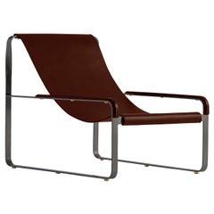 Wanderlust Chaise Lounge Black Smoke Steel and Dark Brown Vegetable Leather