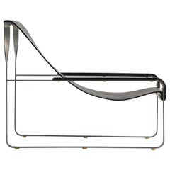 Wanderlust Chaise Lounge Old Silver Steel and Black Vegetable Leather