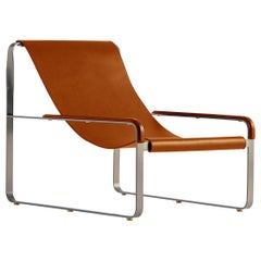 Wanderlust Chaise Lounge Old Silver Steel and Natural Tobacco Vegetable Leather