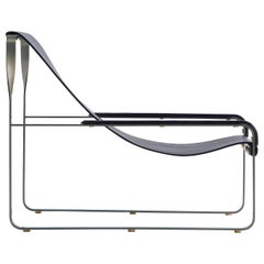 Modern Style Wanderlust Coll. Chaise Lounge Old Silver Steel & Navy Blue Leather