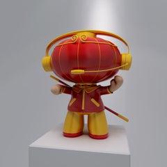 Pop Art Trendy Art Sculpture: A Chinese Red Lantern Monkey with Headset