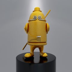 Pop Art Trendy Art Wukong Sculpture: Yellow Color Bullet Monkey, Buddha, Headset