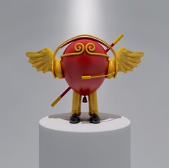 Pop Trendy Art: Red Color Balloon Angel with Wings & Headset Monkey