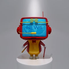 Pop Trendy Sculpture: Television Computer Red Color Monkey with Headset