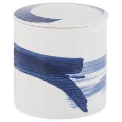 Wang Pot with Lid Large Handcrafted Porcelain Hand Painted White Blue