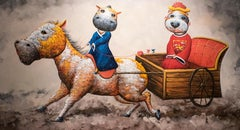 Couple Series, Comic Animals Modern Pop Art, Dog & Cow wedding riding horse